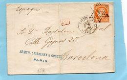 Etoile De PARIS N°1 Sur N°38,L.S.C. Pour BARCELONE Le 9/5/75. - 1849-1876: Klassik