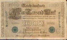 ALLEMAGNE 1000 Mark Série Verte 21/04/1910 - [ 2] 1871-1918 : Empire Allemand
