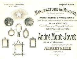 MONT-JOVET   Manufacture De Miroirs  Miroiterie Savoisienne   ALBERTVILLE (Savoie) - Wechsel