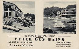 Cpa,HOTEL DES BAINS,aiguebelle-plage,la Lavandou,var,sable Fins,et Paradis Des Baigneurs,édition Aris,bandol,rare - Le Lavandou