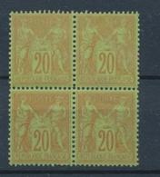 SAGE BLOC DE 4 Du N°96 20c Brique Sur Vert Neuf */** Signé CALVES X1052 - 1876-1878 Sage (Tipo I)