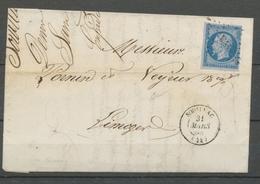 1858 Lettre 20c. BLEU-S-LILAS Foncé, Obl. PC, C.15 SOUILLAC, Superbe X1077 - 1853-1860 Napoleon III