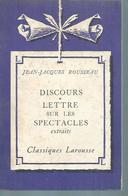"""JEAN-JACQUES ROUSSEAU  """" DISCOURS - LETTRE SUR LES SPECTACLES """" - Theatre"""