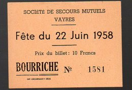 Vayres (33 Gironde) Billet De Loterie TOMBOLA 1958  (PPP12552) - Lottery Tickets