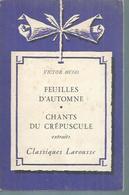 """VICTOR HUGO """" FEUILLES D'AUTOMNE - CHANTS DU CREPUSCULE """" - Theatre"""