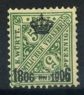 Wurttemberg 1906 Mi. 219 Nuovo * 100% Servizi 5 Pf - Wurttemberg