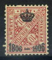 Wurttemberg 1906 Mi. 220 Nuovo ** 100% Servizi 10 Pf - Wurttemberg