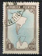 Argentine 1936 - Y & T N°AR380 - Map Of South America With Borderlines Oblitéré - Argentina