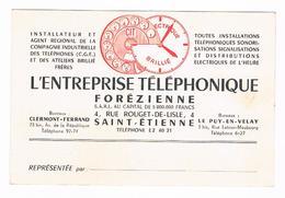 D  42 -  CARTE   De  VISITE - ENTREPRISE  TELEPHONIQUE FOREZIENNE -  SAINT-ETIENNE - CLERMONT - LE PUY - 5645 ùùù - Visiting Cards
