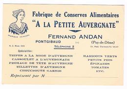 D  63-  CARTE   De  VISITE -  A  LA  PETITE  AUVERGNATE - FERNAND   ANDAN -  PONTGIBAUD  - 5646   ùùù - Visiting Cards
