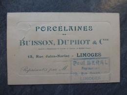 LIMOGES Porcelaines Buisson Duphot, Carte De M. Paul Béral, Vers 1920 ; Ref 990VP43 - Visiting Cards