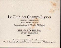 Biarritz (64 Pyrénées Atlantiques) Programme Casino Municipal 1948 Orchestre BERNARD HILDA (PPP12562) - Programs