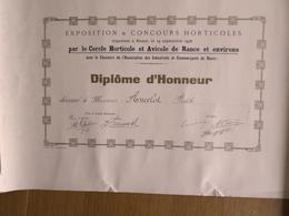 EXPOSITION &  CONCOURS  HORTICOLE DE RANCE ET ENVIRONS (BELGIQUE) 19 SEPTEMBRE 1926 - Diploma & School Reports