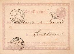 Bk G1 8 MEI 1871  Leeuwarden- Eindhoven - Postal Stationery