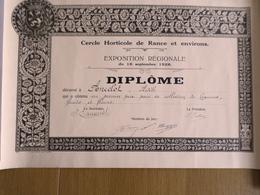 DIPLOME CERCLE HORTICOLE DE RANCE & ENVIRONS (BELGIQUE) EXPOSITION REGIONALE 16 SEPTEMBRE 1928 - Diploma & School Reports
