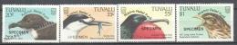 Tuvalu 1999 Yvert 768-71, Kosovo Relief Fund, Birds - Overprinted SPECIMEN - MNH - Tuvalu