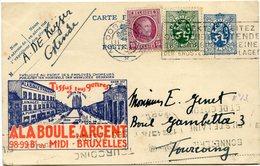 BELGIQUE ENTIER POSTAL AVEC AFFRANCHISSEMENT COMPLEMENTAIRE DEPART OOSTENDE 11 XII 4(3) POUR LA FRANCE - Stamped Stationery