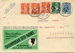 BELGIQUE ENTIER POSTAL AVEC AFFRANCHISSEMENT COMPLEMENTAIRE DEPART OOSTENDE 13 III 1935 POUR LA FRANCE - Stamped Stationery