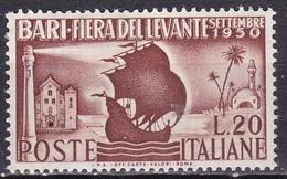 Repubblica Italiana,1950 - 20 Lire Fiera Del Levante, Fil. R1 - Pos. ND - Nr.94 MNH** - 1946-.. Republiek