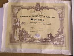 DIPLOME COMMUNE DE SIVRY HAINAUT  (BELGIQUE) EXPOSITION DU PETIT ELEVAGE 15 AOUT 1930 - Diploma & School Reports