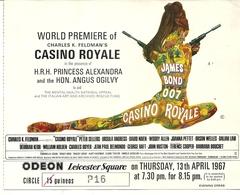 ENTREE PREMIERE FILM CASINO ROYALE . JAMES BOND 007 . ODEON LEICESTER SQUARE - Programmes