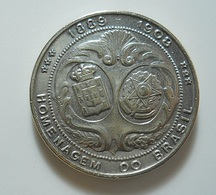 Silver Medal * Homenagem Do Brasil * D. Manuel II Rei De Portugal 1889-1908 - Tokens & Medals