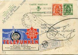BELGIQUE ENTIER POSTAL AVEC AFFRANCHISSEMENT COMPLEMENTAIRE DEPART LIEGE 17 VI 1940 ARRIVEE ANTWERPEN 25 VI 40 REEXPEDIE - Stamped Stationery