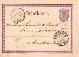 Bk G3 26 JUN  1872  Leiden - Eindhoven - Postal Stationery