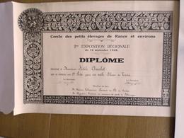 DIPLOME CERCLE DES PETITS ELEVAGES DE RANCE & ENVIRONS (BELGIQUE) 2em EXPOSITION  REGIONALE 16 SEPTEMBRE 1928 - Diploma & School Reports