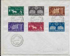 LUXEMBOURG - 1951 - SERIE YT N° 443/448 Sur ENVELOPPE FDC - COTE DES TIMBRES OBLITERES = 125 EUR - Lussemburgo