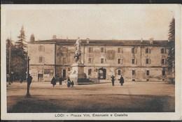 LOMBARDIA - LODI - PIAZZA VITT. EMANUELE E CASTELLO - ANIMATA - PICCOLO FORMATO - ANNI'20 - NUOVA - Lodi