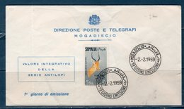 Somalia A.F.I.S 1959 -- Animali  Posta Aerea -- FDC - Somalia (AFIS)