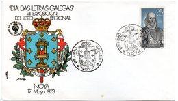 Carta  Con Matasellos Commemorativo De  Libro Gallego Noya De 1973 - 1971-80 Storia Postale