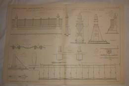 Plan Du Déplacement Du Mur De Clôture De La Gare Des Mille Wagons à La Porte Du Schyn à Anvers. 1912 - Public Works