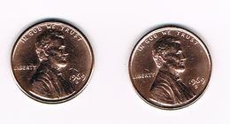 U.S.A.  2 X 1 CENT 1969 D - 1969 S - 1959-…: Lincoln, Memorial Reverse