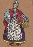 Matériaux - Carte En Liège - Femme Costume Provence - Marché - Santons Margarido - Peinture Sur Liège - Ansichtskarten