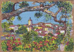 Matériaux - Carte En Liège - Peinture Sur Liège - Village Provençale - Ansichtskarten