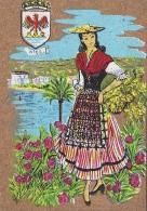 Matériaux - Carte En Liège - Peinture Sur Liège - Femme Provençale En Costume - Nice - Blason - Postcards
