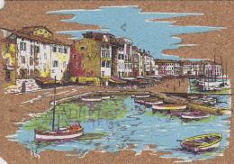 Matériaux - Carte En Liège - Peinture Sur Liège - Saint-Tropez - Port Ville - Ansichtskarten
