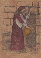 Matériaux - Carte En Liège - Peinture Sur Liège - Femme Sarde à La Fontaine - Calangianus Sassari - Ansichtskarten