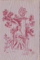 Matériaux - Carte 2 Volets En Tissu - Impression Femme Et Cupidon - Ansichtskarten
