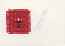 Matériaux - Carte Avec Tissage Carré Rouge Représentant Un Chandelier Avec Bougies Allumées - Noël - Ansichtskarten
