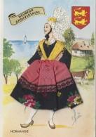 Matériaux - Carte Brodée Et Tissu - Femme Normande - Ansichtskarten