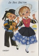 Matériaux - Carte Brodée Et Tissu - Couple Enfants Bretagne Lorient - Ansichtskarten