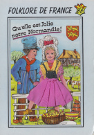 Matériaux - Carte Brodée Et Tissu - Couple Fermiers Normandie - Ansichtskarten
