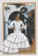 Matériaux - Carte Brodée Et Tissu - Couple Espagne - Andalousie - Patio - Ansichtskarten