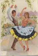 Matériaux - Carte Brodée Et Tissu - Couple Espagne - Andalousie - Costume Danse - Ansichtskarten