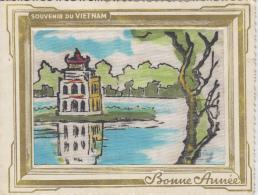 Matériaux - Peinture Sur Soie - Pagode - Souvenir Du Vietnam - Bonne Année - Carte 2 Volets - Ansichtskarten