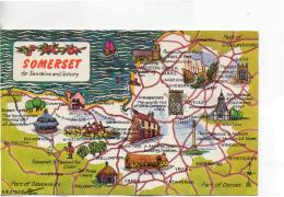 Postcard - Map - Somerset With Ills - Posted 4th May 1967  Very Good - Postcards