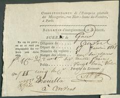 Bordereau Bulletin D'enregistrement Et De Sûreté, Correspondance De L'Entreprise Générale De MESSAGERIES à Paris Pour Le - 1815-1830 (Dutch Period)